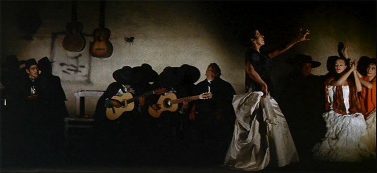 Fun fact—this frame from the movie tributes the famous oil painting El Jaleo by John Singer Sargent.